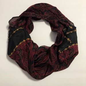 Red/Black/Gold Patterned Scarf